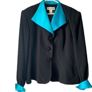 VTG Christian Dior 80s Teal and Black Work Blazer